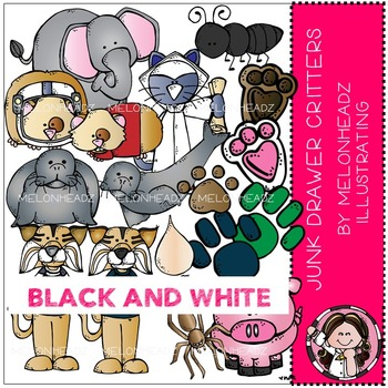 Junk Drawer clip art - Critters / animals - BLACK AND WHITE - by Melonheadz