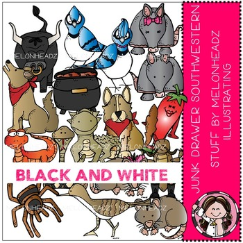 Junk Drawer clip art - Southwestern Stuff - BLACK AND WHITE - by Melonheadz