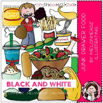 Junk Drawer clip art - food - BLACK AND WHITE - by Melonheadz