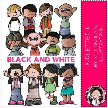 Kidlettes clip art - Set 6 - BLACK AND WHITE - by Melonheadz