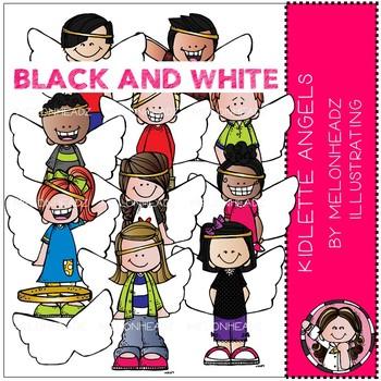 Melonheadz: Kidlettes Angels clip art - BLACK AND WHITE
