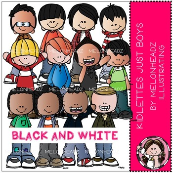 Kidlettes clip art - Just Boys - BLACK AND WHITE - by Melonheadz