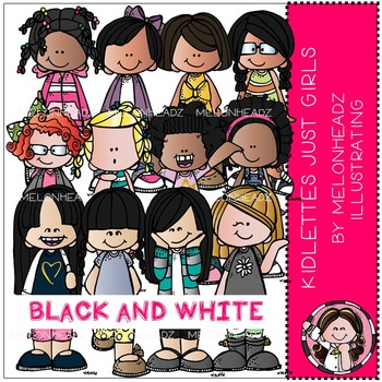 Kidlettes clip art - Just Girls - BLACK AND WHITE - by Melonheadz