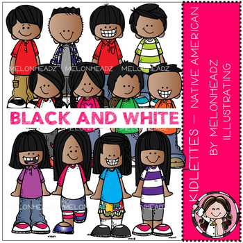 Kidlettes clip art - Native American- BLACK AND WHITE - by Melonheadz