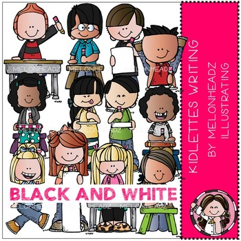 Kidlettes Writing Clip Art Black And White By Melonheadz By