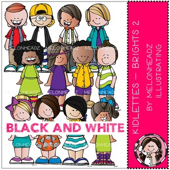 Kidlettes clip art - Brights - Part 2 - Black and White - by Melonheadz