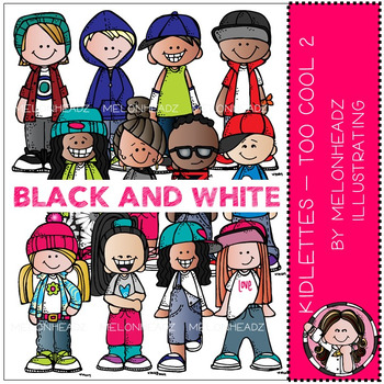 Kidlettes clip art - Too Cool 2 - BLACK AND WHITE - by Melonheadz