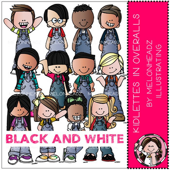 Melonheadz: Kidlettes in Overalls - BLACK AND WHITE