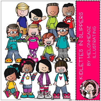 Melonheadz: Kidlettes in Slippers clip art - COMBO PACK