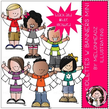 Kidlettes with Banners clip art - Mini - by Melonheadz