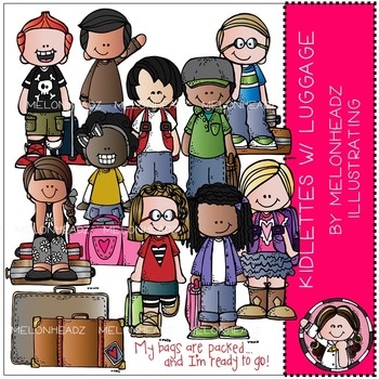 Kidlettes with Luggage clip art - COMBO PACK - by Melonheadz