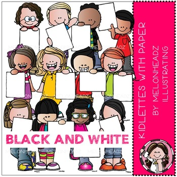 Kidlettes with Paper clip art - BLACK AND WHITE - by Melonheadz