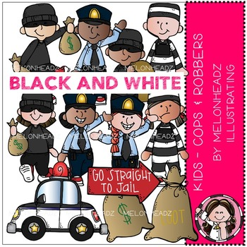 Melonheadz: Cops and Robbers clip art - Kids - BLACK AND WHITE