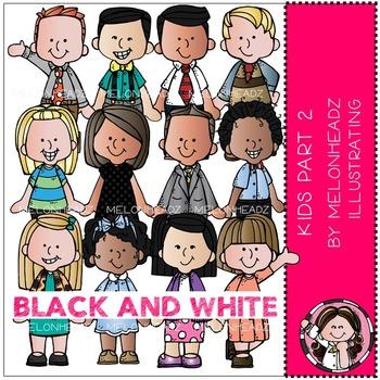 Melonheadz: Kids clip art Part 2 - BLACK AND WHITE