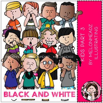 Melonheadz: Kids clip  art Part 3 BLACK AND WHITE