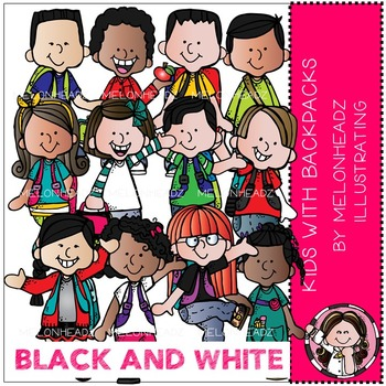 Kids with Backpacks clip art - BLACK AND WHITE - by Melonheadz