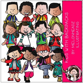 Melonheadz: Kids with Backpacks clip art - Combo Pack