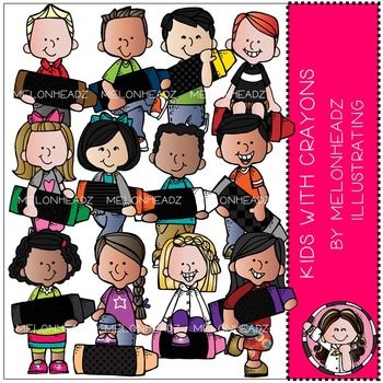 Melonheadz: Kids with Crayons clip art
