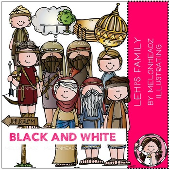 Lehi's Family clip art - LDS - BLACK AND WHITE - by Melonheadz