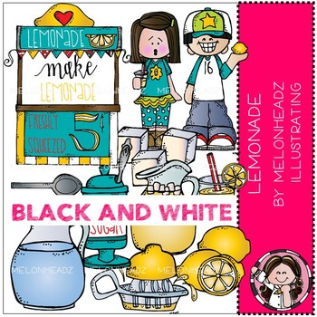 Lemonade Stand clip art - BLACK AND WHITE - by Melonheadz