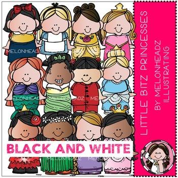 Lil Bitz clip art - Princesses - BLACK AND WHITE - by Melonheadz