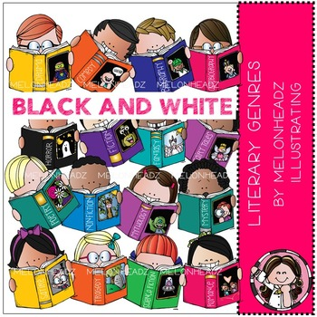 Melonheadz: Literary Genres clip art - BLACK AND WHITE