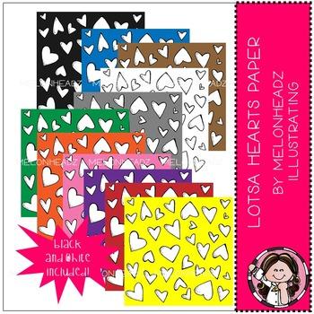 Lotsa Hearts Paper - digital paper - by Melonheadz