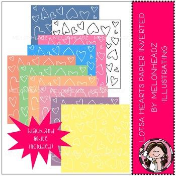 Lotsa Hearts Paper Inverted - digital paper - by Melonheadz