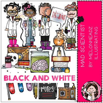 Melonheadz: Mad Scientist clip art - BLACK AND WHITE
