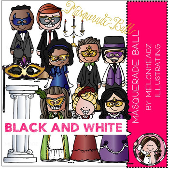 Melonheadz: Masquerade Ball clip art - BLACK AND WHITE
