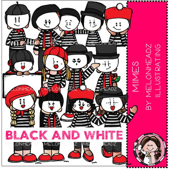 Mimes clip art - BLACK AND WHITE - by Melonheadz