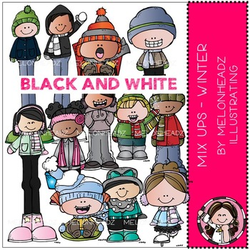 Winter clip art - Mix Ups - BLACK AND WHITE - by Melonheadz