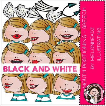 Melonheadz: Mouth Positioning - Speech clip art - BLACK AND WHITE