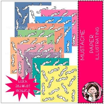 Mustache Paper - digital paper - by Melonheadz