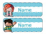 Melonheadz Neon Chevron Editable Nametags/ Deskplates