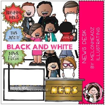 News Desk clip art - BLACK AND WHITE - by Melonheadz
