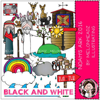 Noah's Ark 2016 clip art - BLACK AND WHITE - by Melonheadz