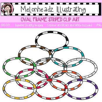 Oval Frame clip art - Striped - Single Image - by Melonheadz