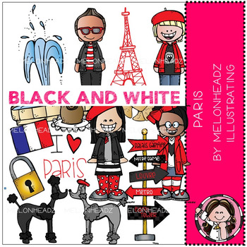 Paris clip art - BLACK AND WHITE - by Melonheadz