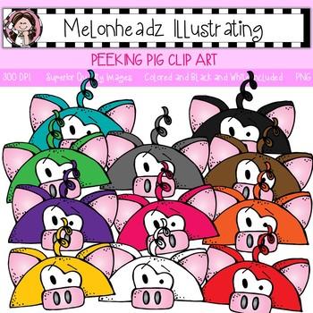 Melonheadz: Peeking Pig clip art - Single Image