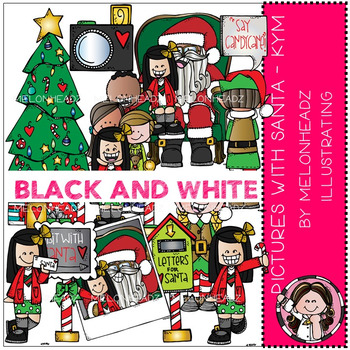 Pictures with Santa clip art - Kym - BLACK AND WHITE - by Melonheadz