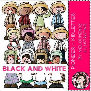 Melonheadz: Pioneer clip art - Kidlettes - BLACK AND WHITE