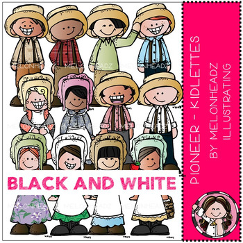 Pioneer clip art - Kidlettes - BLACK AND WHITE - by Melonheadz