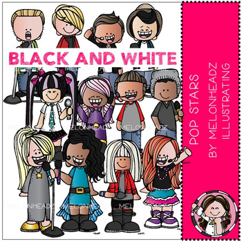 Pop Stars clip art - BLACK AND WHITE - by Melonheadz