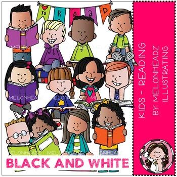 Melonheadz: Reading clip art - Kids - BLACK AND WHITE