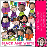 Reading clip art - Kids - BLACK AND WHITE - by Melonheadz