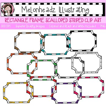 Melonheadz: Rectangle Frame clip art - Scalloped - Single Image