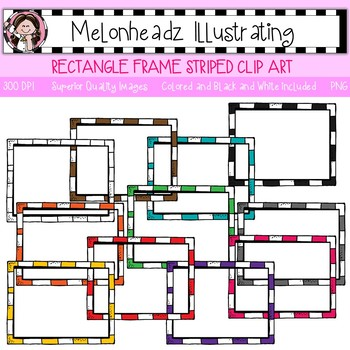 Melonheadz: Rectangle Frame clip art - Striped - Single Image