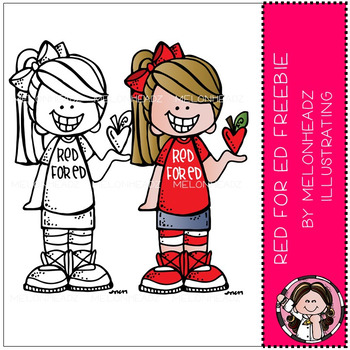 Red for Ed clip art FREEBIE - by Melonheadz