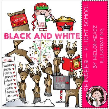 Reindeer clip art - Flight School - BLACK AND WHITE - by Melonheadz